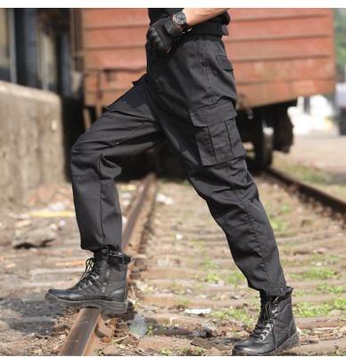 An ninh đào tạo quần nam mùa hè màu đen phần mỏng lỏng chịu mài mòn làm việc quần tài sản lực lượng đặc biệt đa túi yếm Quần làm việc