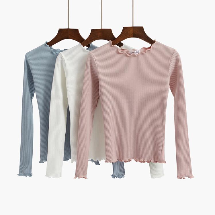 港风秋装长袖t恤女上衣短款针织衫修身显瘦木耳边薄款纯棉打底衫