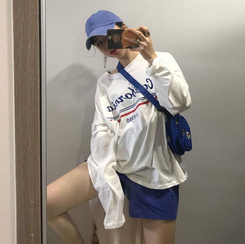 [Muzly] chic gió đầu mùa thu hit thư màu in ấn dài tay T-Shirt + lỏng rộng chân quần short giản dị phù hợp với