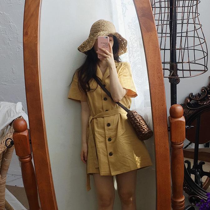 [Muzly] chic retro phù hợp với cổ áo đơn ngực ren-up khóa mùa hè ngắn tay đầm