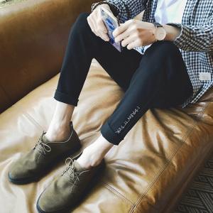 秋冬新款男士休闲韩版修身牛仔裤学生青年小脚长裤男装潮时尚薄款