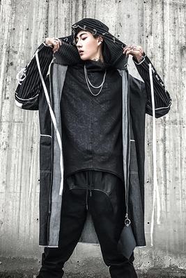 Áo gió nam dài phần cá tính Hàn Quốc phiên bản của đẹp trai triều thương hiệu mùa thu và mùa đông lỏng xu hướng Châu Âu và Hoa Kỳ gió tối đen hip-hop áo Áo gió
