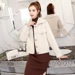 Cừu xén lông nữ đoạn ngắn 2018 mới của Hàn Quốc phiên bản của tự trồng ve áo hạt len lông một chiếc áo khoác lông thú