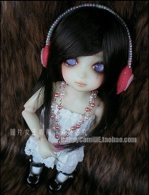 taobao agent BJD/SD 6 points doll wig hair Ea lady temperament recoil straight hair natural black 1/6