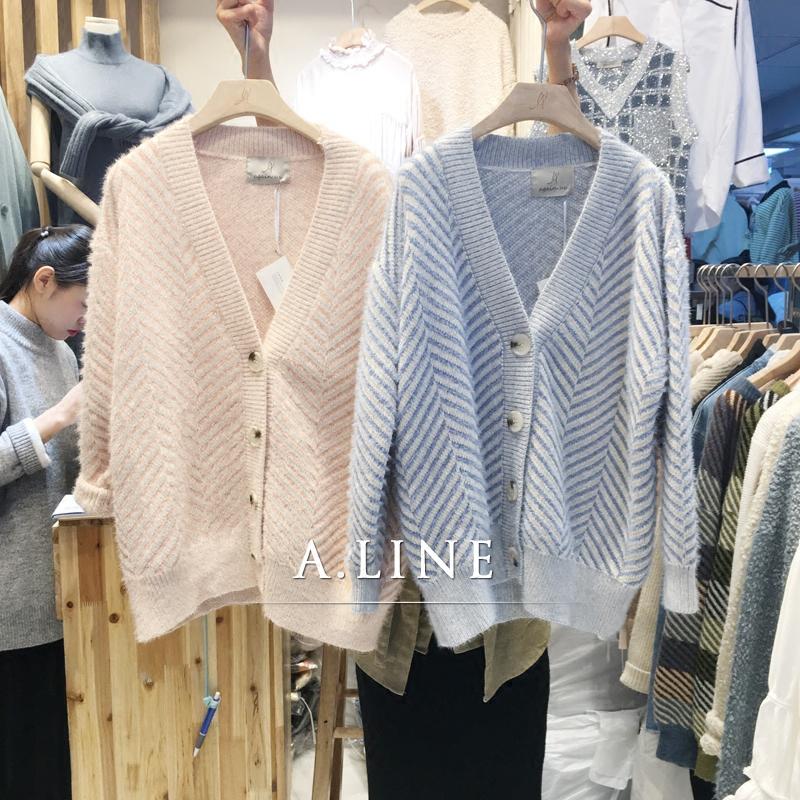Hàn quốc ulzzang 2017 mùa thu và mùa đông mới lỏng hoang dã V-Cổ đan cardigan chéo dài tay áo len áo