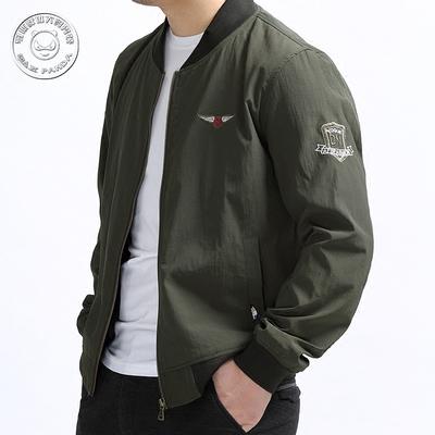 Kích thước lớn của nam giới áo khoác mùa xuân và mùa thu phi công chất béo giản dị quần áo giản dị trên mùa thu thủy triều triều cộng với phân bón để tăng áo khoác Đồng phục bóng chày