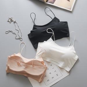 Băng lụa đen yếm trong áo ngực ngắn chống-ánh sáng với ngực pad bọc ngực ống top đáy thể thao đồ lót nữ mùa hè