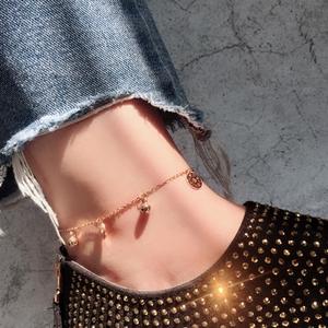 Hàn quốc rose gold cổ điển đồng xu titan thép 14 K vòng chân vàng không gây dị ứng không phai nữ mới hoang dã đơn giản