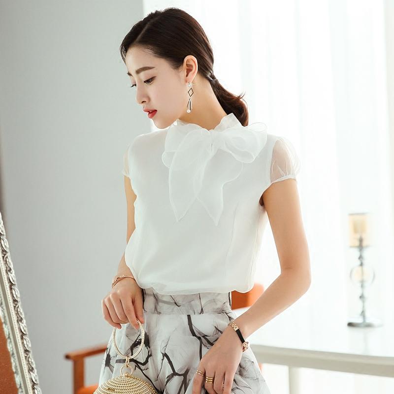 2020 Công chúa ngọt ngào mới nhất của công chúa Hanza, áo voan có nơ, áo thun ngắn tay nữ - Áo sơ mi