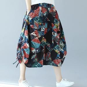 Gió quốc gia bông và vải lanh cắt quần váy chất béo mm đàn hồi eo lỏng xl lớn, lanh rộng chân quần đèn lồng quần