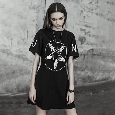 PUNKRAVE朋克个性印花连衣裙女夏2018新款暗黑系修身短袖T恤裙潮