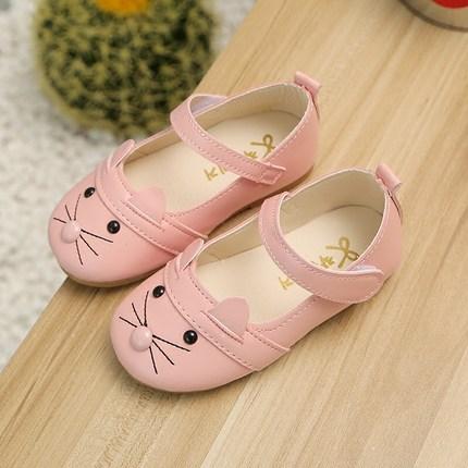 Кожаная обувь с ТаоБао Обувь для девочек 2017 осень новый обувь одного Хан издание Принцесса обувь милый маленький кот мягкие нижние детская обувь 1-3-5 лет фото 1
