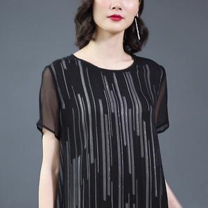 2019夏季新款時尚高端真絲連衣裙顯瘦直筒女中長款桑蠶絲氣質黑色