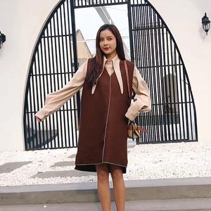 实拍大码女装2019新款秋季胖妹妹显瘦遮肚洋气减龄超仙两件套装