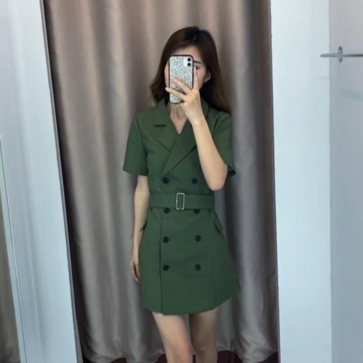 2020夏裝新款小個子修身系帶小眾設計感西裝領牛油果綠短袖連衣裙