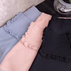 实拍+小视频 木耳边口袋装饰百搭针织半身裙伞裙短裙子