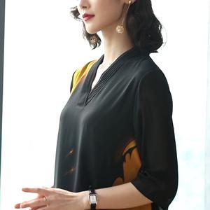 2019新款夏印花連衣裙復古雪紡裙子名媛闊太太氣質高貴過膝長裙