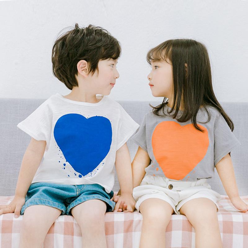 童装2018夏季韩版中小童短袖T恤男女童爱心短袖打底衫纯棉男女宝